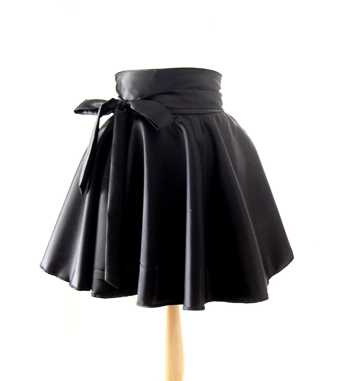 Wet Look Skater Skirt, High Waisted Skirt, Satin Rockabilly Skirt ...
