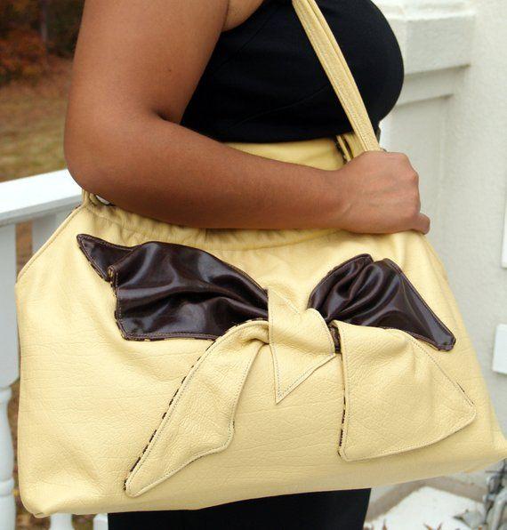 9bb3ebe4a3 Desert Sand Tan Yellow and Chocolate Brown Large Leather Tote Shoulderbag  Hobo Handbag