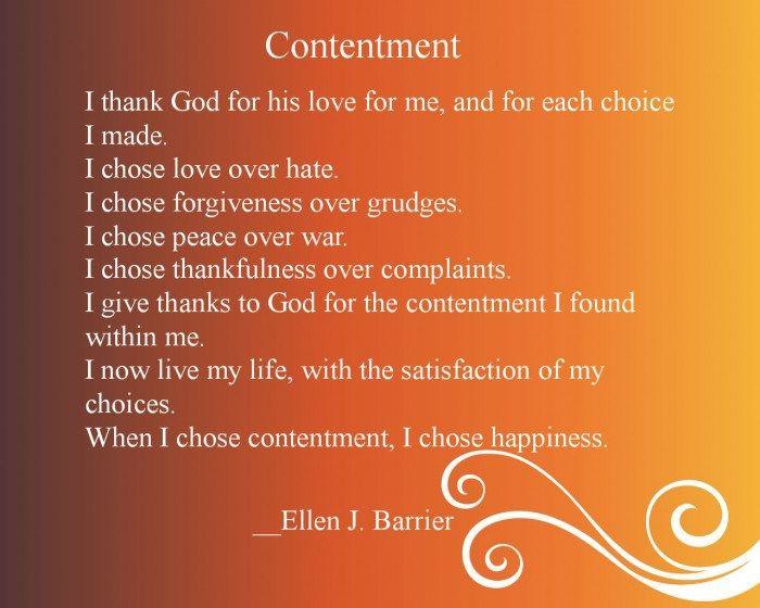 Contentment Ellen Barrier Spiritual Quotes Content Positive Quotes