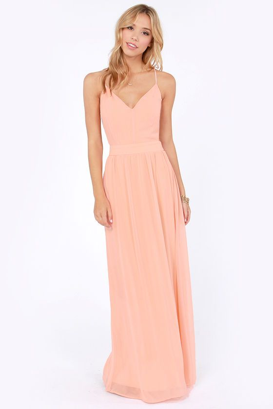 6fb58339407 LULUS Exclusive Rooftop Garden Backless Peach Maxi Dress at LuLus.com! This  is pretty too and has straps.  Jessica Hendrix  Megan Douglas  Logan Hendrix