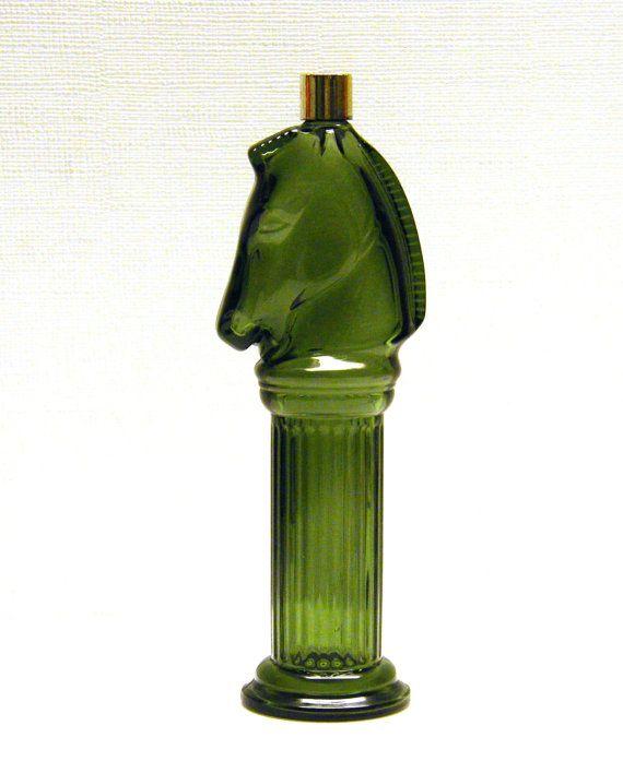 Vintage Pony Post Avon Cologne Bottle in dark green