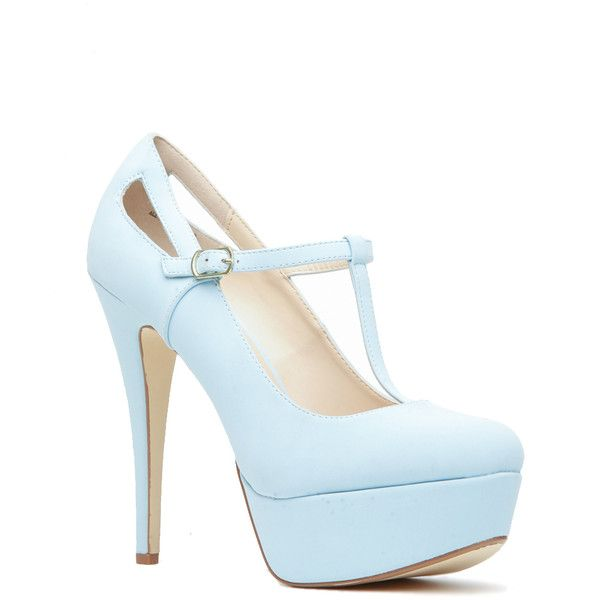 8a1534afcad7 CiCiHot Light Blue Faux Leather T Strap Mary Jane Platform Heels ( 25) ❤  liked