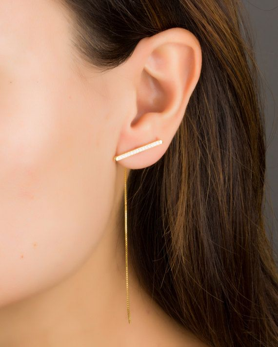 Long Chain Earrings Bar Sterling Silver Front Back Gold Cubic Zirconia 0090em