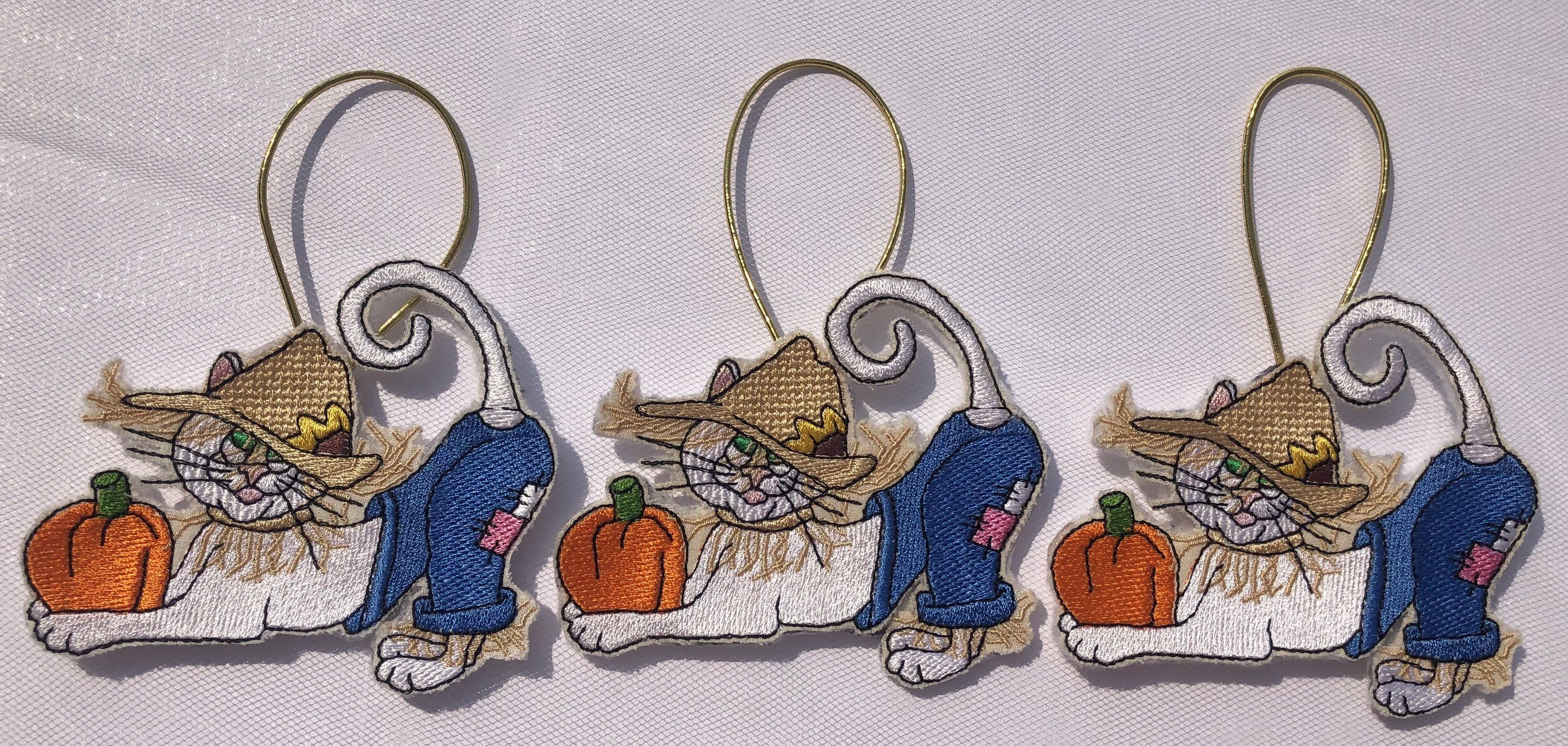 Excited to share this item from my #etsy shop: Embroidered Autumn Cat Ornament with Felt on the back.Decor for Fall,Thanksgiving Halloween,on Wreath,Trees, for Cat,Kitty, Lover's! #white #halloween #blue #homedecor #felt #embroideryaddict #embroidery #thanksgiving