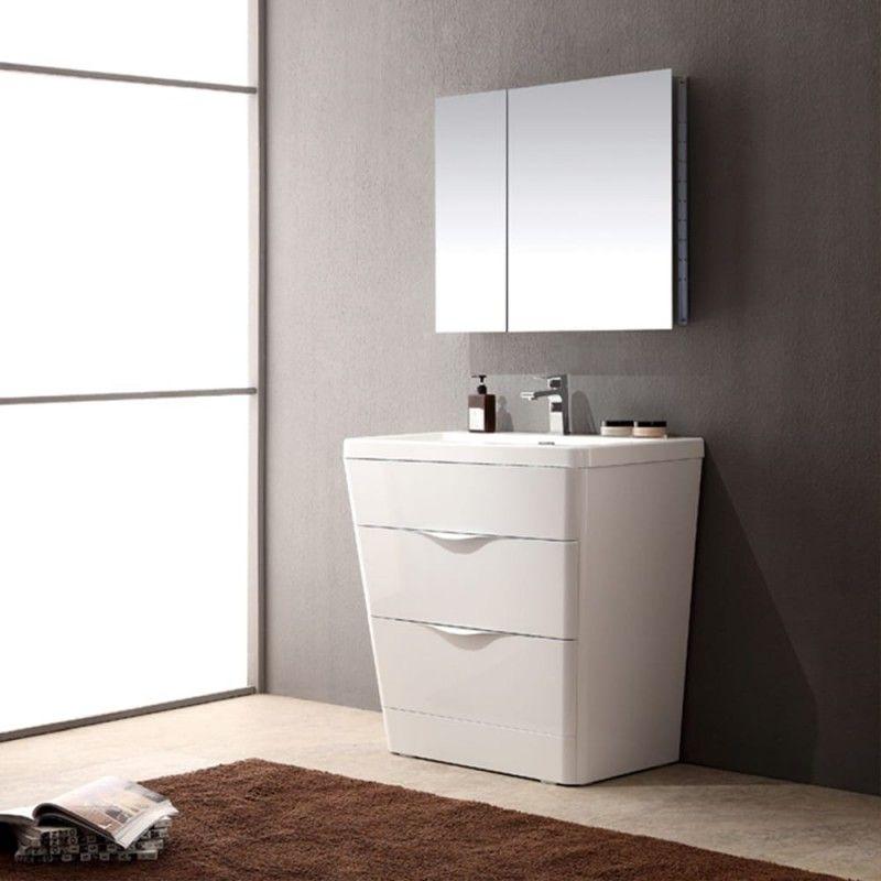 "Fresca Milano 32"" Glossy White Modern Bathroom Vanity with ..."