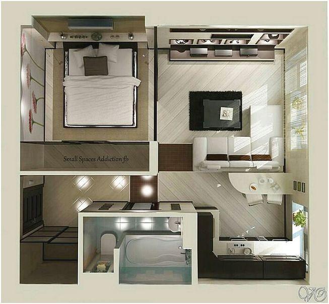 Desain Denah Rumah Minimalis 1 Kamar Tidur 3d Grundrisse Rumah Denah Rumah Dan Rumah Minimalis