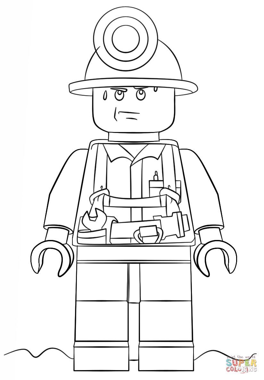 Moto Di Batman Da Colorare Con Disegno Di Minatore Lego