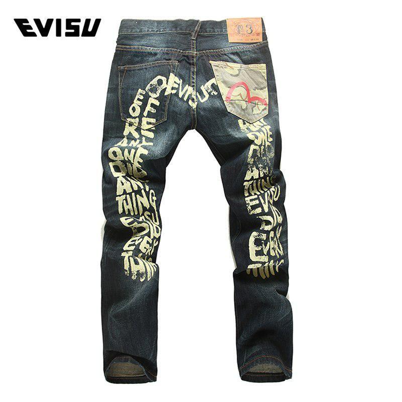 d8806829dd5c Evisu men hipster jeans casual fashion trousers zipper men pockets jeans  straight long classic blue jpg