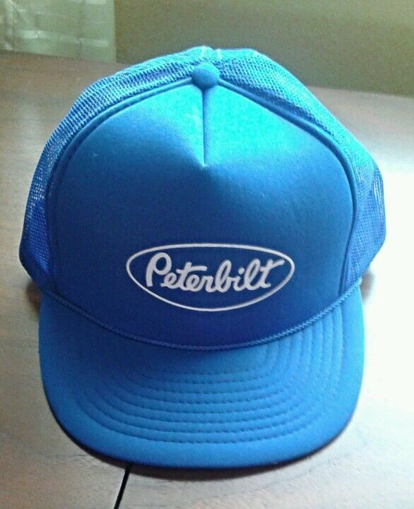 Vintage Style Peterbilt Trucker Hat Blue   White Snapback Meshback  Adjustable  Trucker baff1329d62