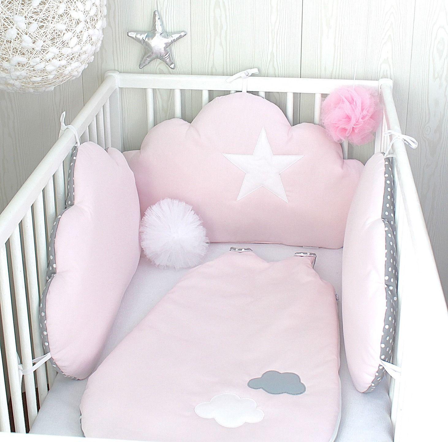 tour de lit b b nuages r versibles 3 grands coussins couleur rose tendre et gris pois. Black Bedroom Furniture Sets. Home Design Ideas