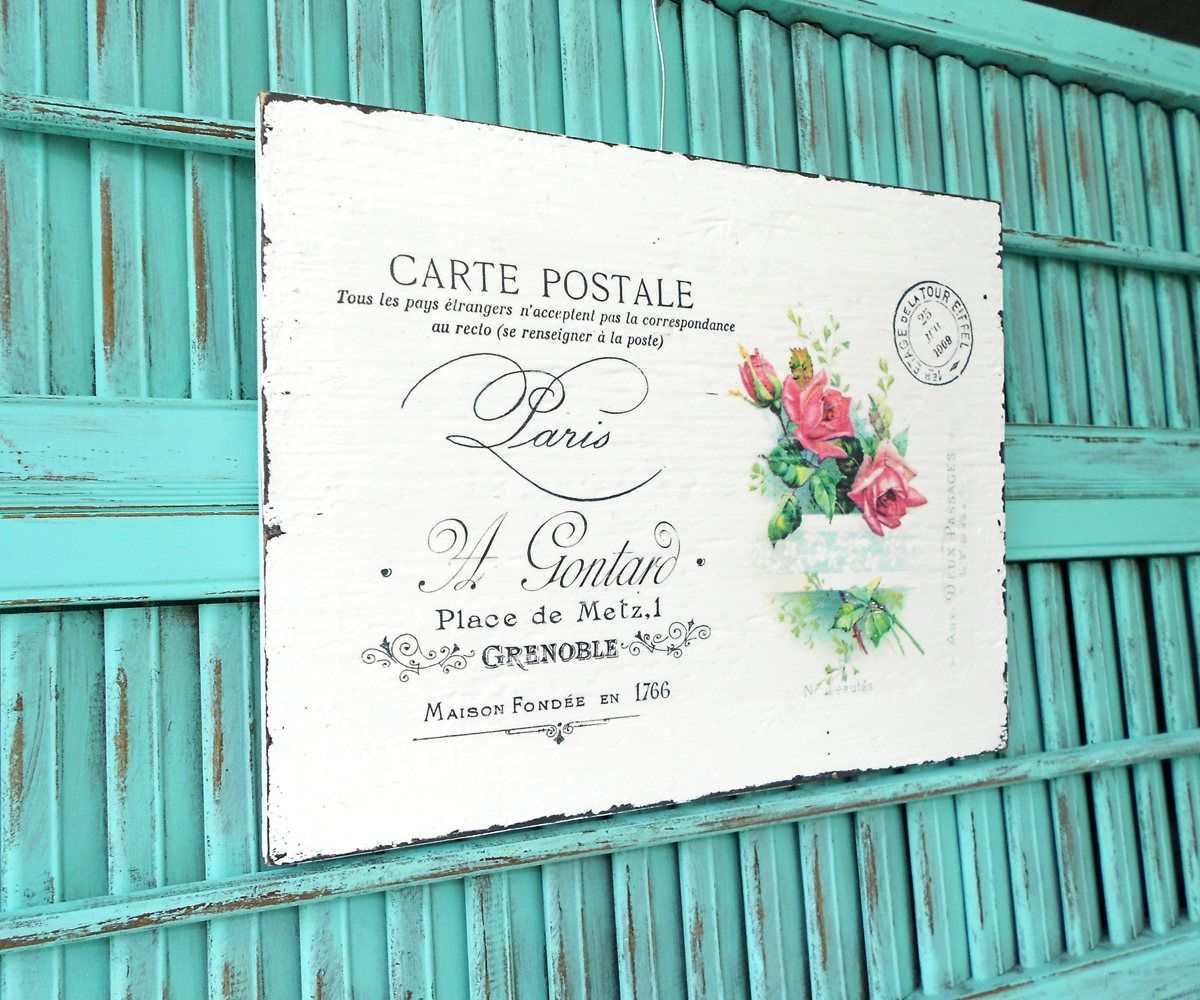 Shabby Chic French Handwriting with Pink Roses Postal Stamp Handmade ...