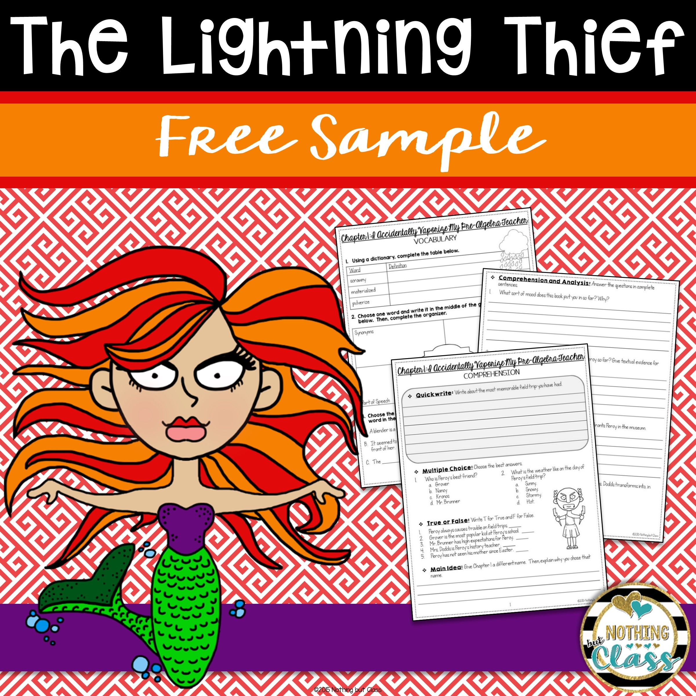 The Lightning Thief Novel Study Unit Free Sample