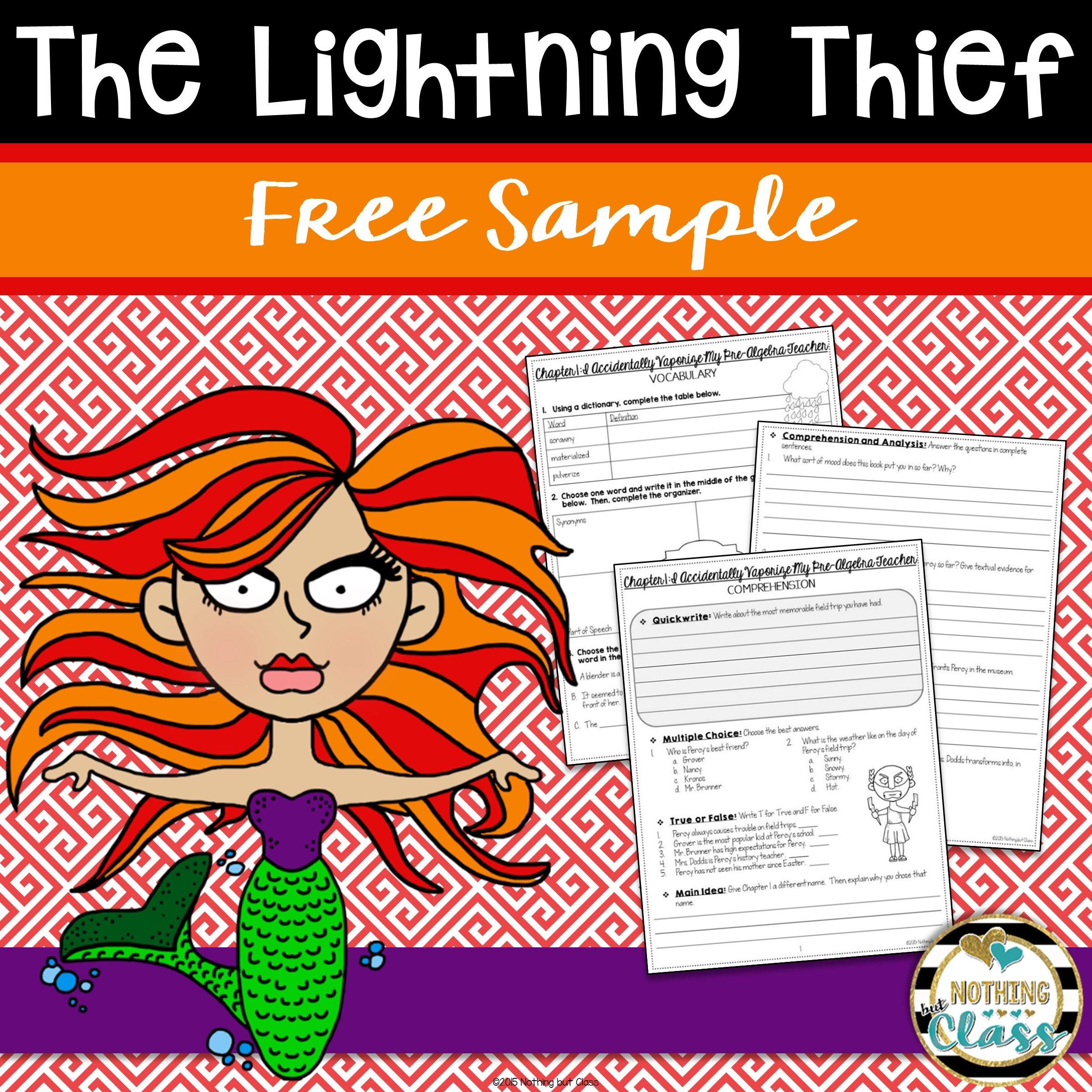 The Lightning Thief Novel Study Unit Free Sample