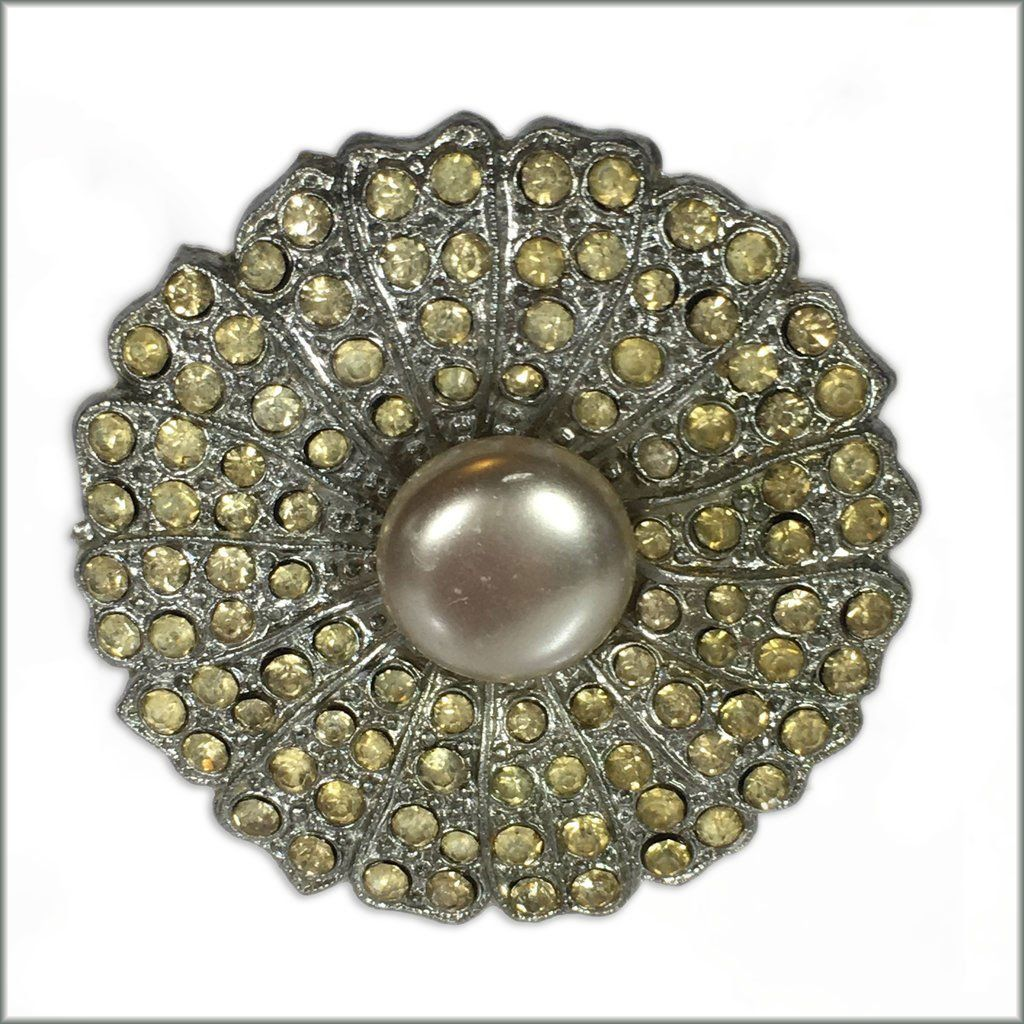 50's Diamante Flower Brooch