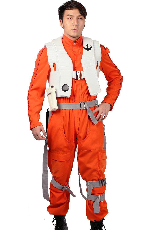 AmazonSmile: Poe Dameron Costume Deluxe Orange Jumpsuit Suit ...