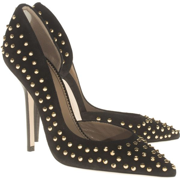 DSQUARED Borchie Studs Heel Black Pointed leather pumps with studs ($660)...