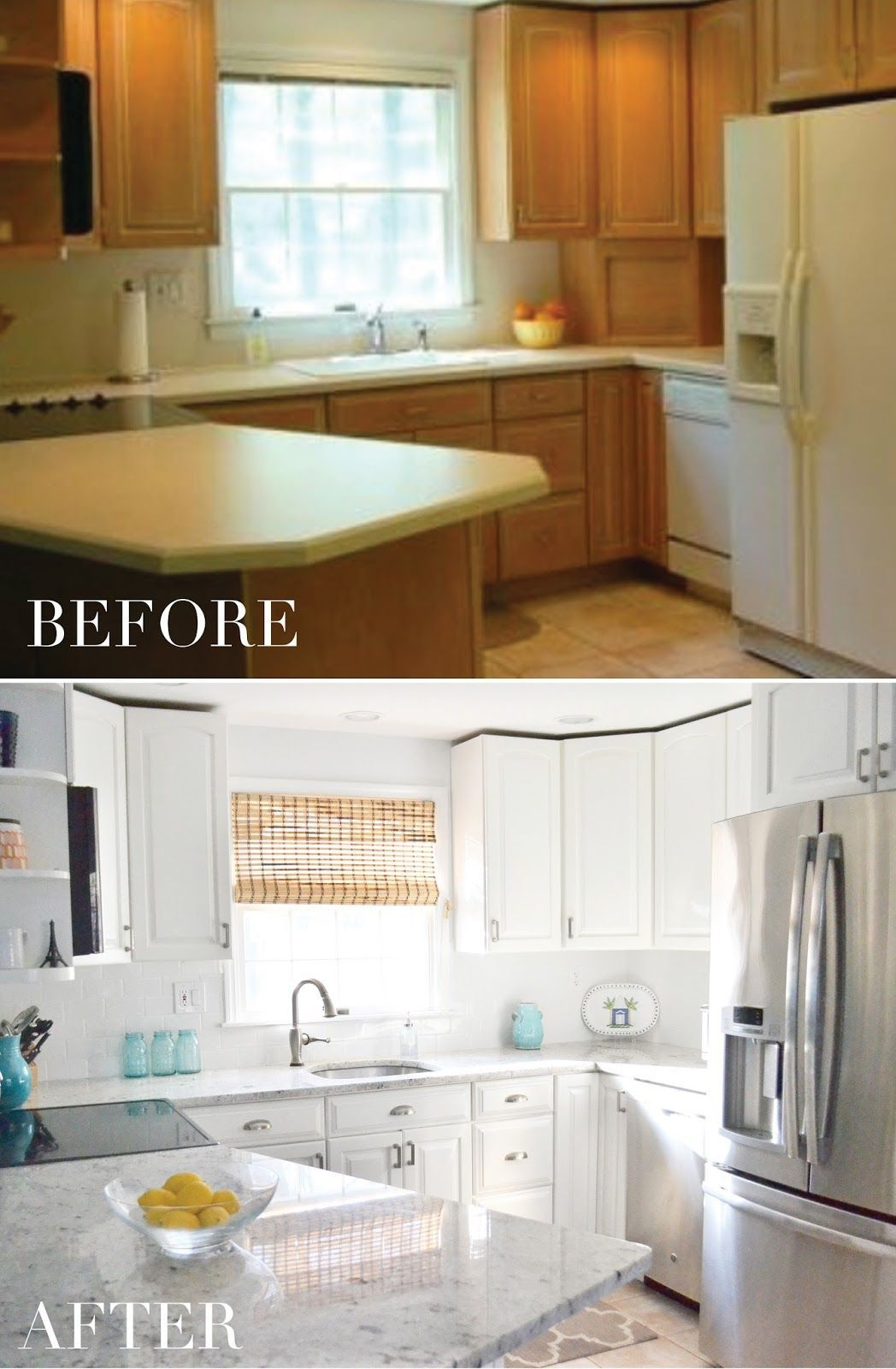 A Budget Friendly Kitchen Transformation From Dull To Bright White White Kitchen Painted Cab New Kitchen Cabinets Paint Cabinets White Kitchen Transformation