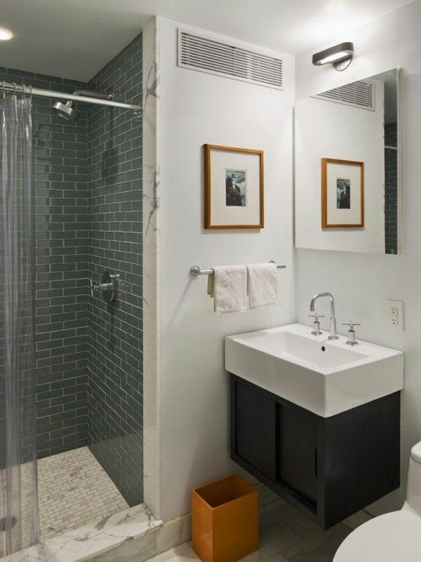Badezimmer Design Mit Graunen Fliesen Und Bild Mit Rahmen - 77