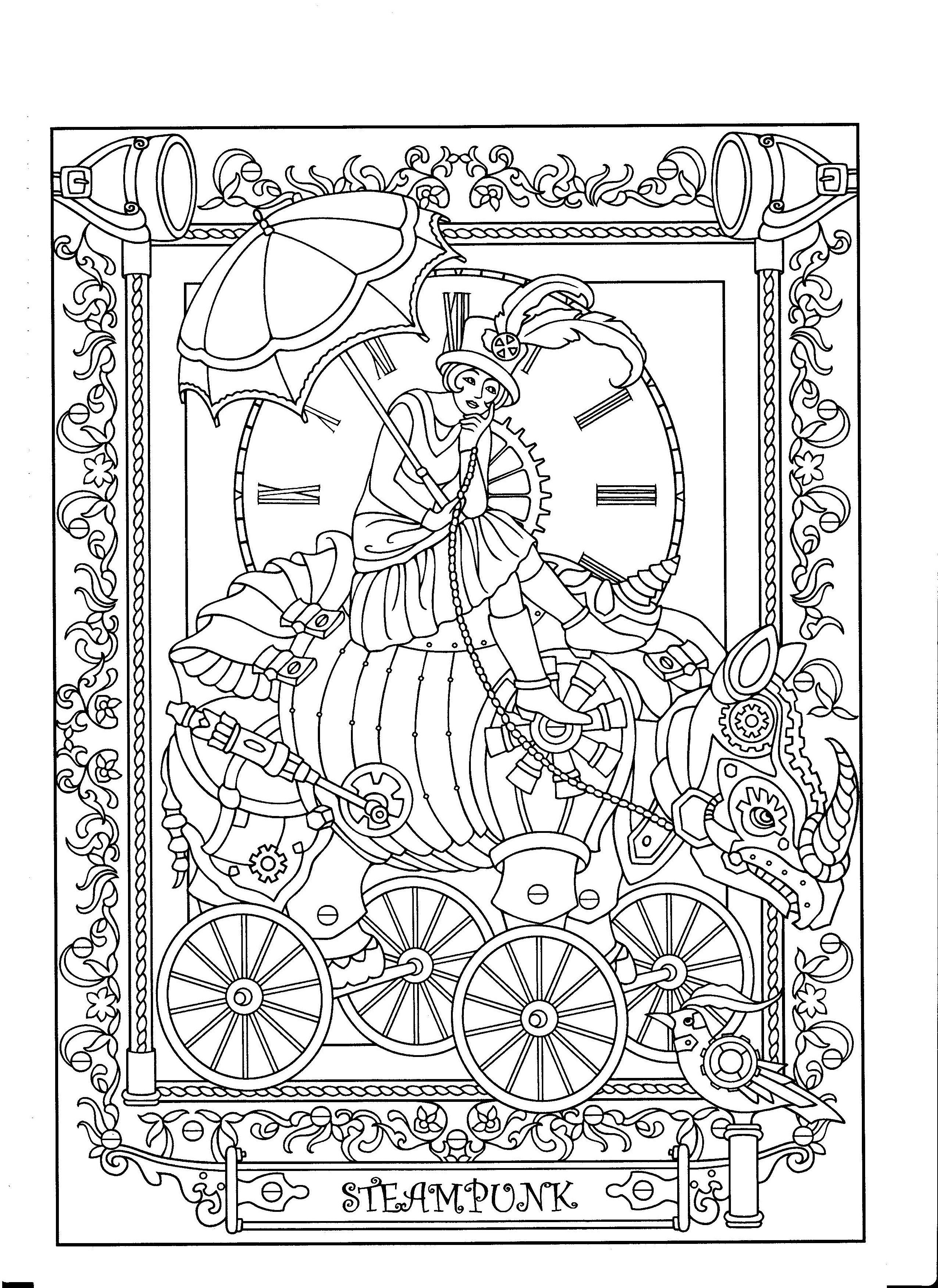 Steampunk Coloring Page Steampunk Coloring Book Steampunk Coloring Fairy Coloring Pages