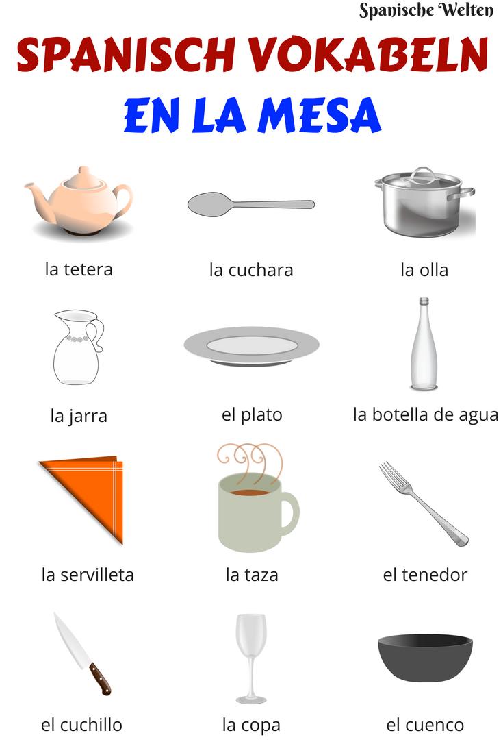 Spanisch Vokabeln: Auf dem Tisch | Spanisch vokabeln