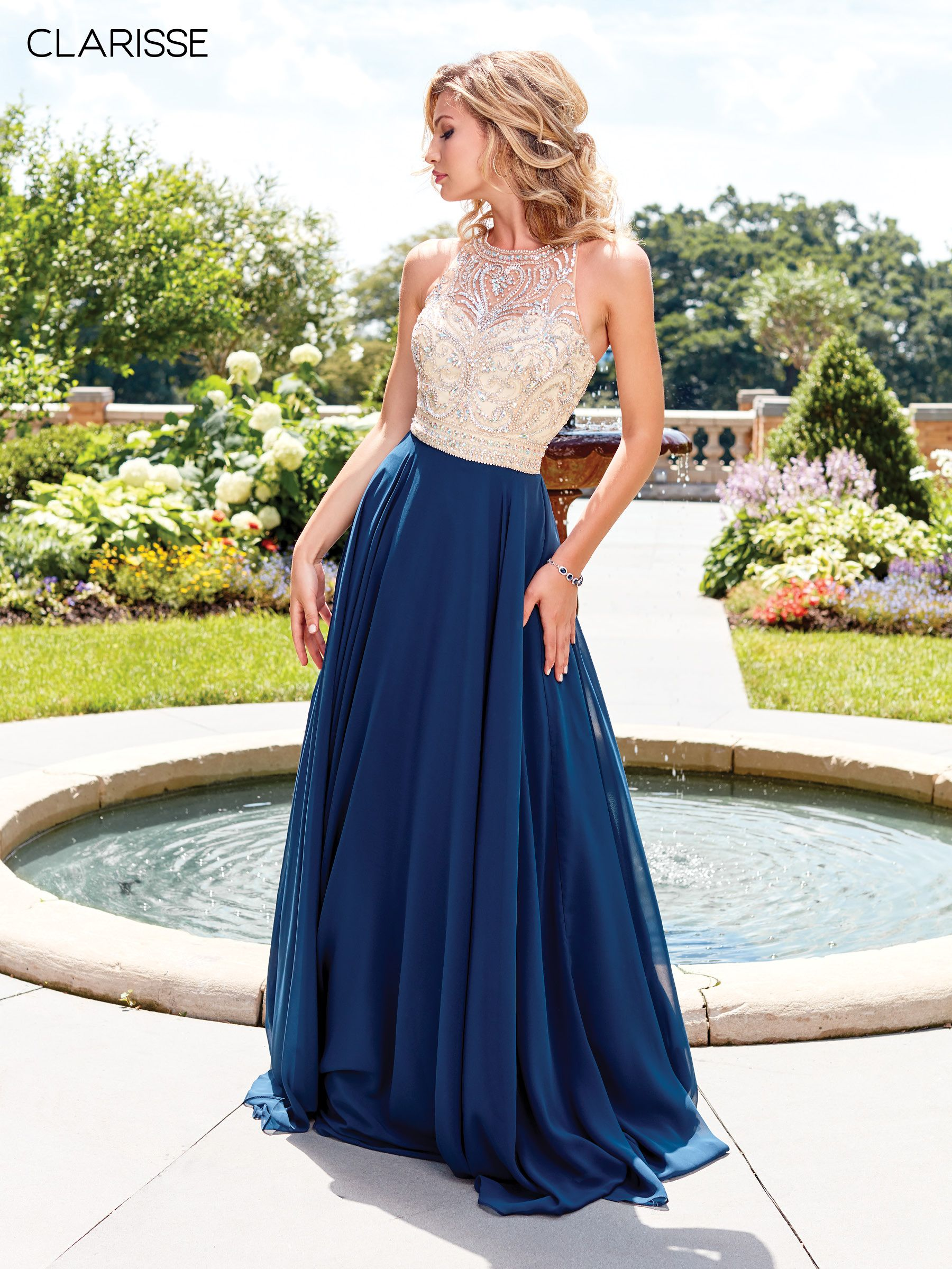 1a513c21e9f 3465 - Navy long chiffon prom dress with a beaded detail top ...