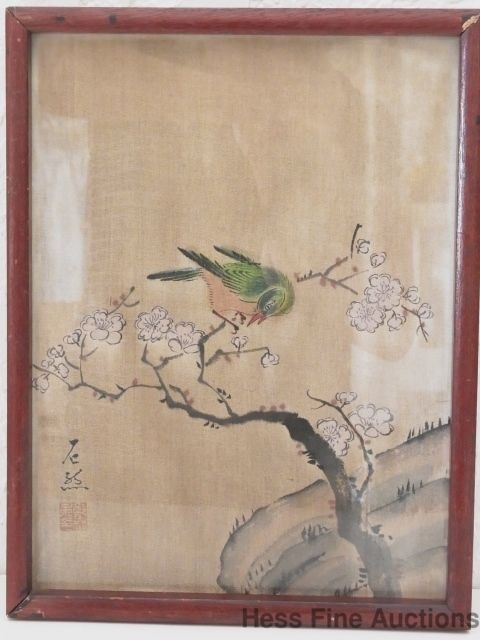 Signed Antique Chinese Japanese Watercolor Silk Painting Cherry