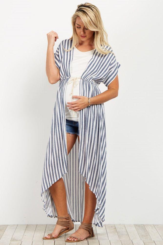 7269c06f5644 Navy Striped Hi-Low Long Kimono. Navy Striped Hi-Low Long Kimono Casual  Maternity