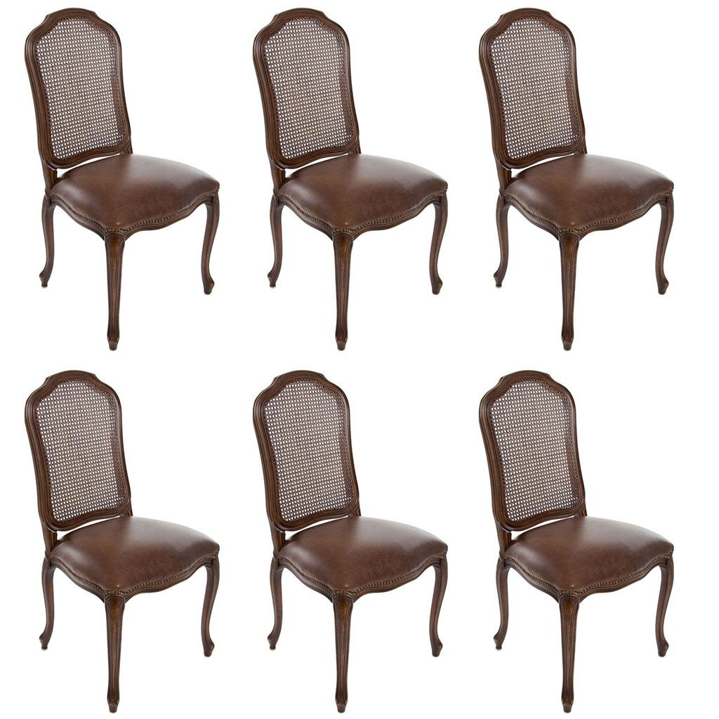 Set of 6 Italian French Louis XV Cane Back Dining Side Chairs Custom