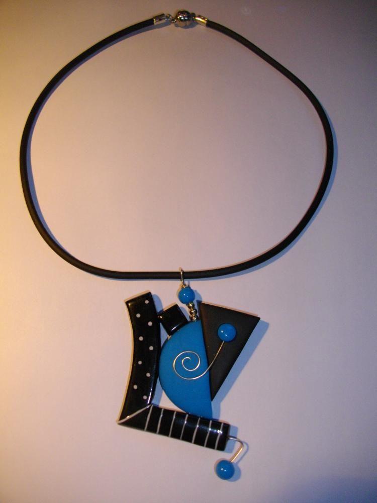 Pendentif (picolino) turquoise , Vente en ligne de bijoux fimo