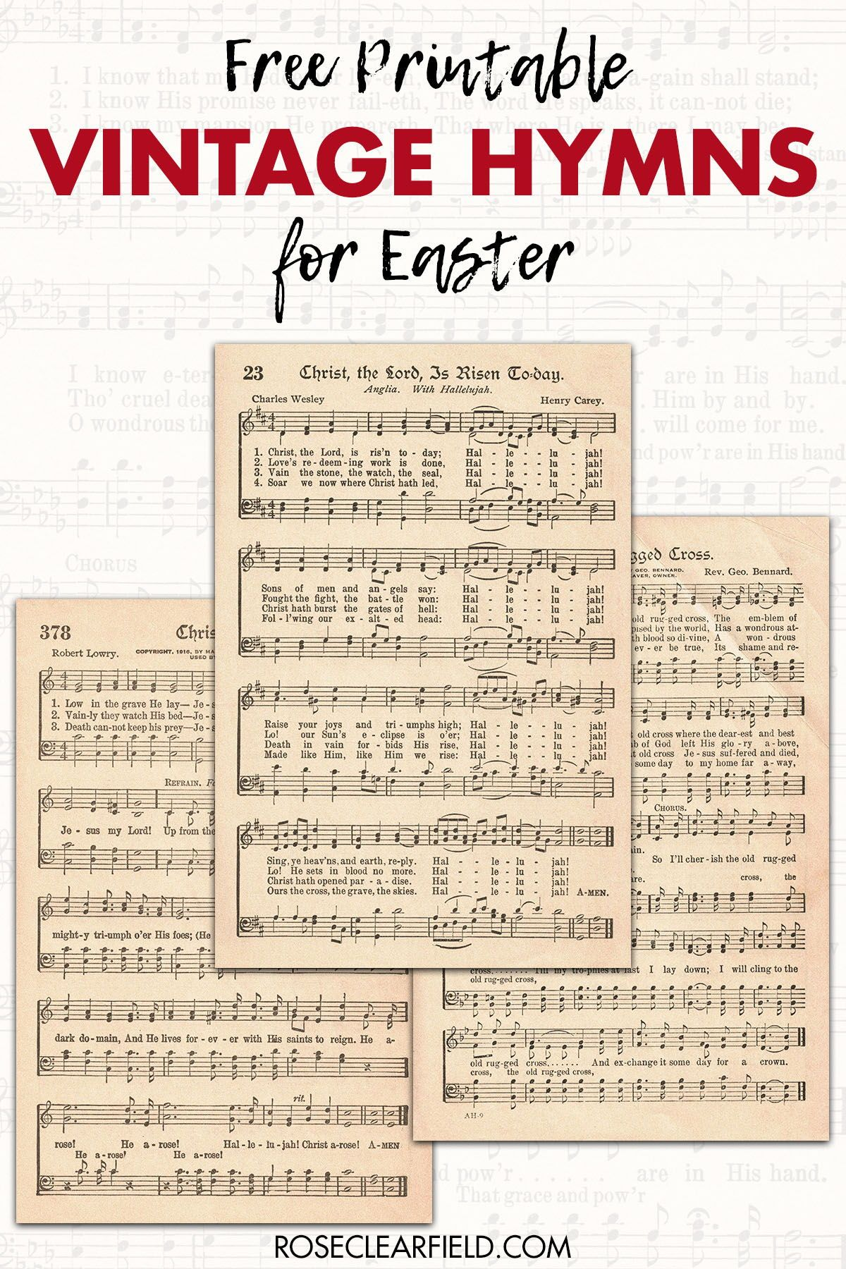 Free Printable Vintage Hymns for Easter