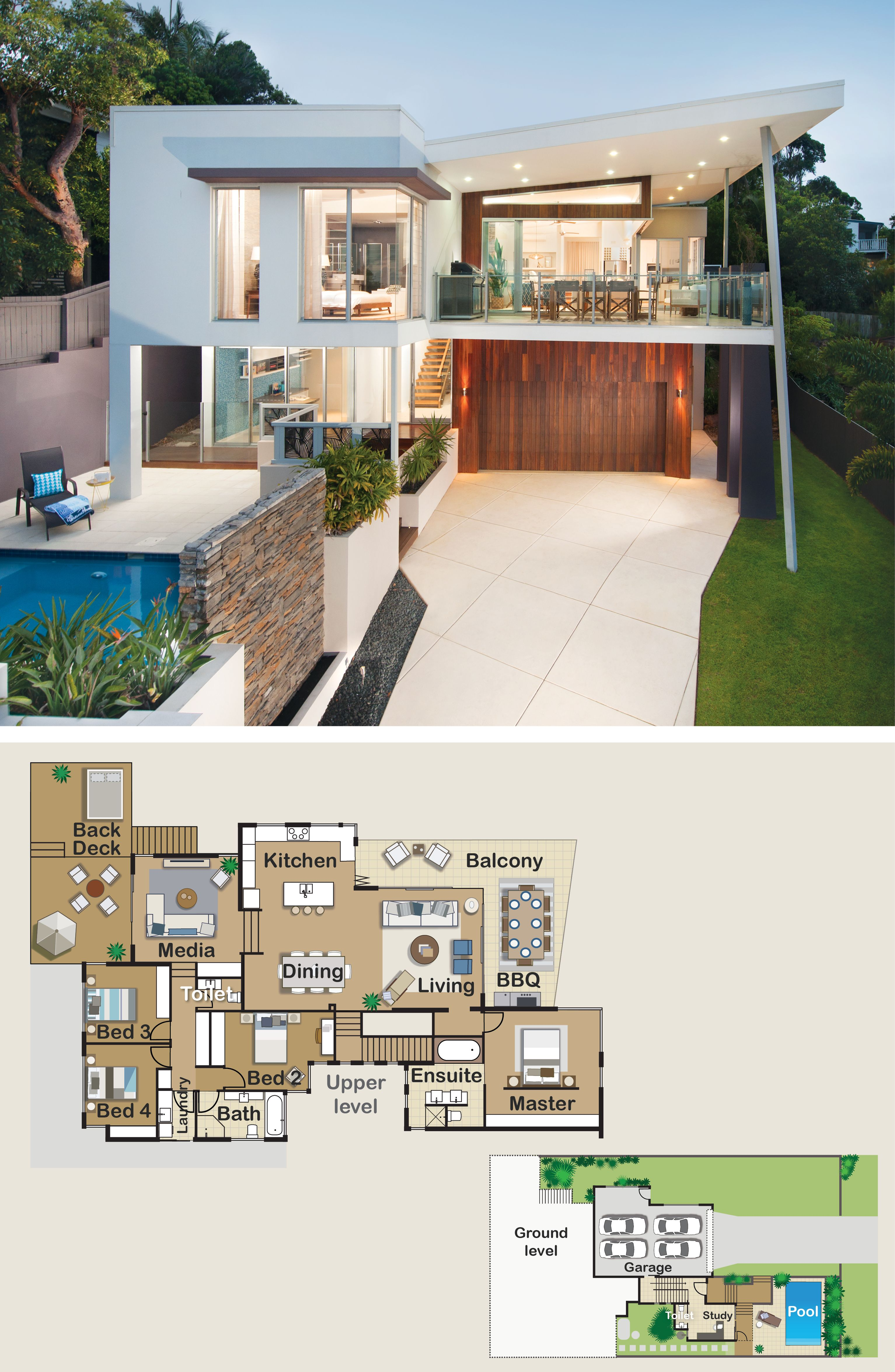 Love How All The Bedrooms And Living Areas Are On The One Level Floorplan Home Modern Beach House Floor Plans New House Plans Beach House Flooring