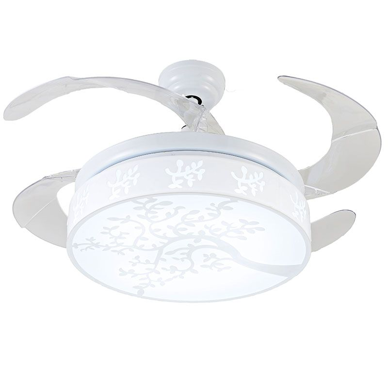 White Leaf Pattern Hidden Blades Ceiling Fan Y4222 Retractable Blades Home  Fan