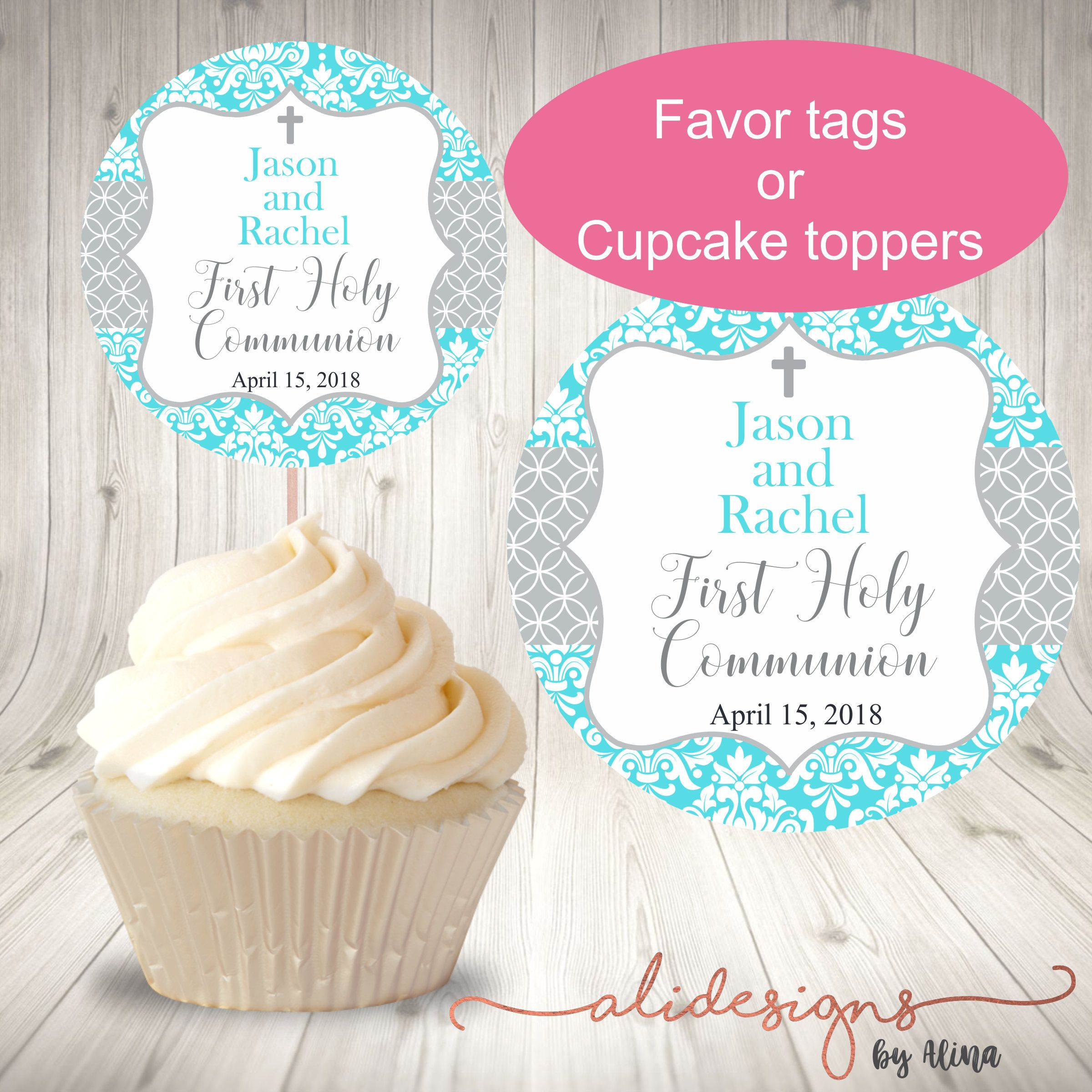 First holy munion tag teal tag holy munion favor tag teal