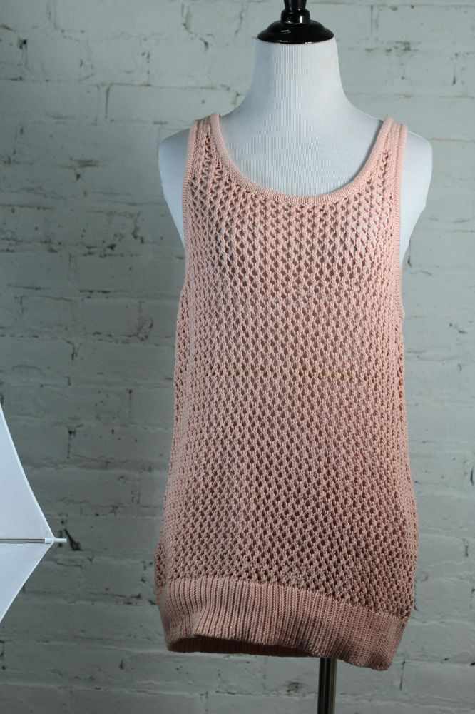 Wallace Women's Pink Knitted 100% Cotton Tank Top M #Wallace #TankCami #Casual