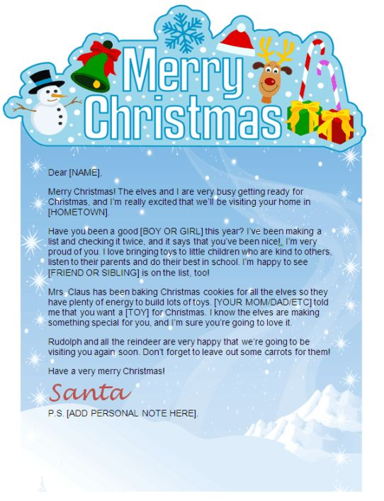 A cute MS Word Santa letter template from Christmas Letter Tips - free xmas letter templates