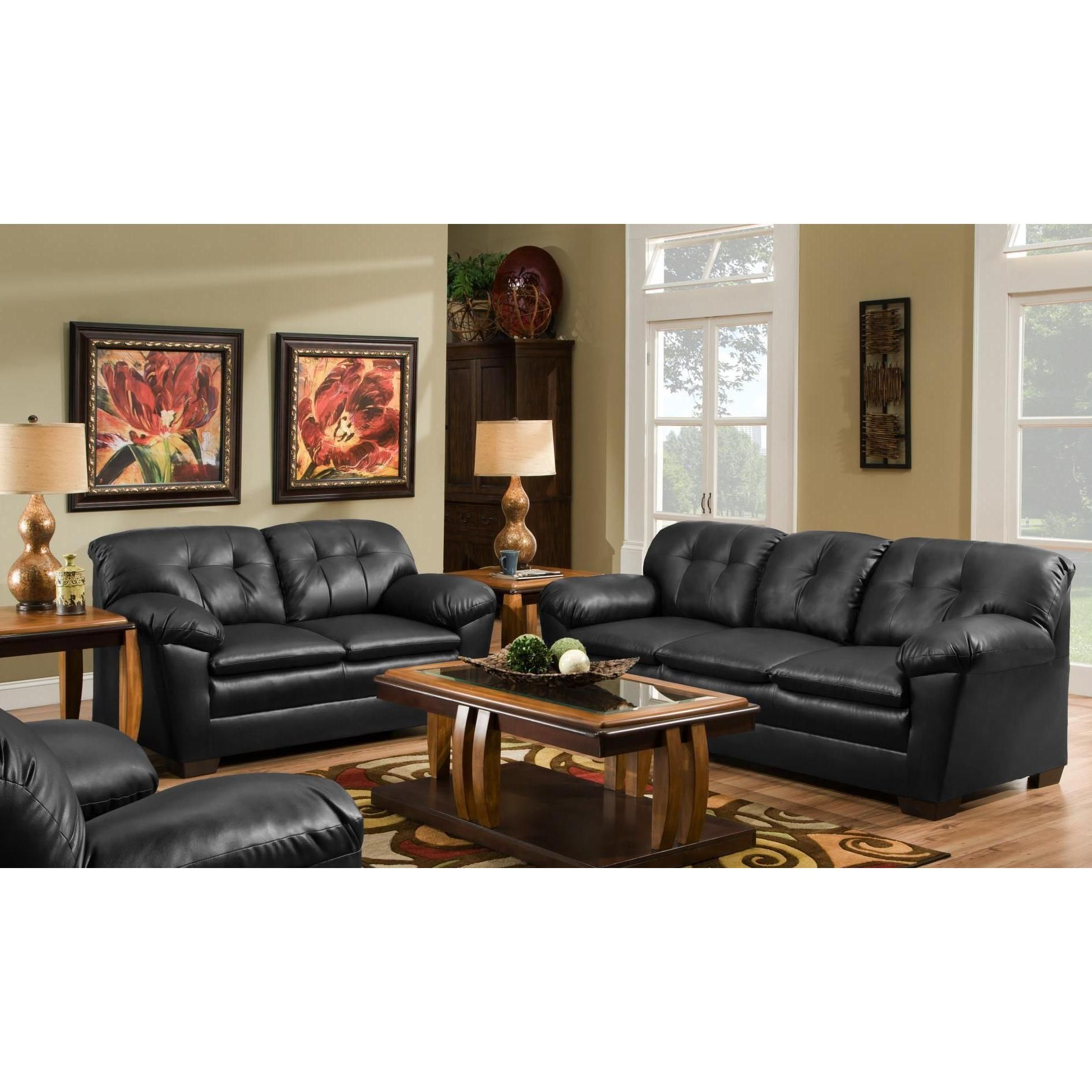 Fine Sofa Trendz Cole Black Faux Leather Sofa And Loveseat Set Pabps2019 Chair Design Images Pabps2019Com