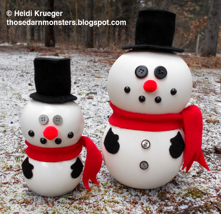 Diy Snowmen Decorations Made From Pom Wonderful Bottles