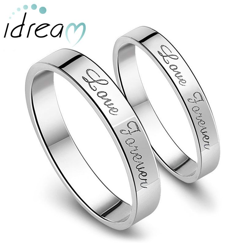 Love Forever Engraved Promise Rings For S Personalized Flat Wedding Ring Band In 925 Sterling