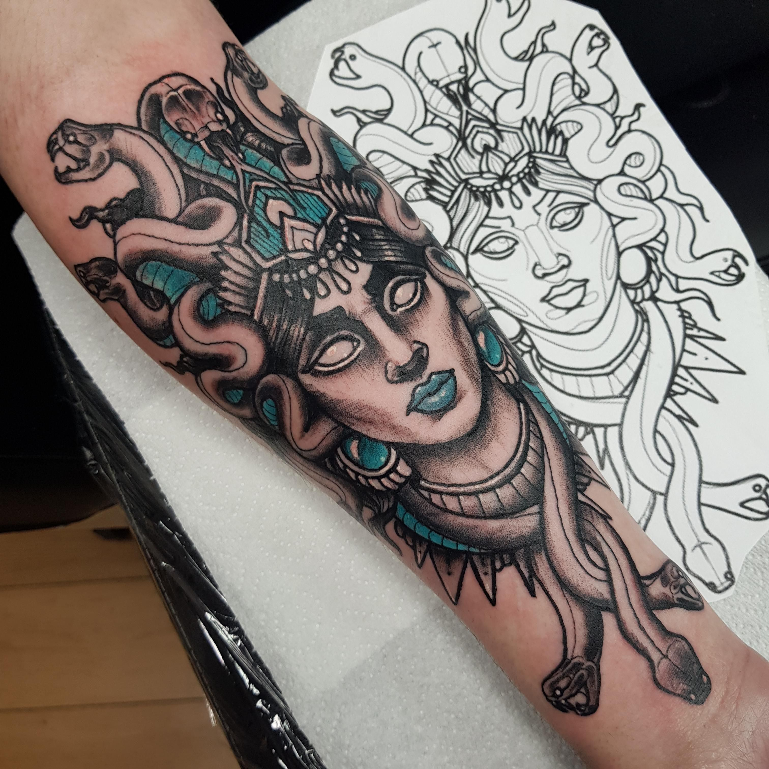 My forearm Medusa. By Andrew Stewart at Otherworld in