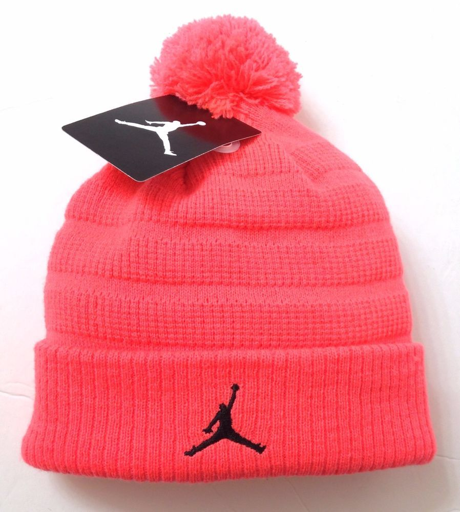 926548bad85 (Size Youth to 7-1 4 women) AIR JORDAN JUMPMAN POM BEANIE Coral-Pink Neon  Winter  Nike  Beanie