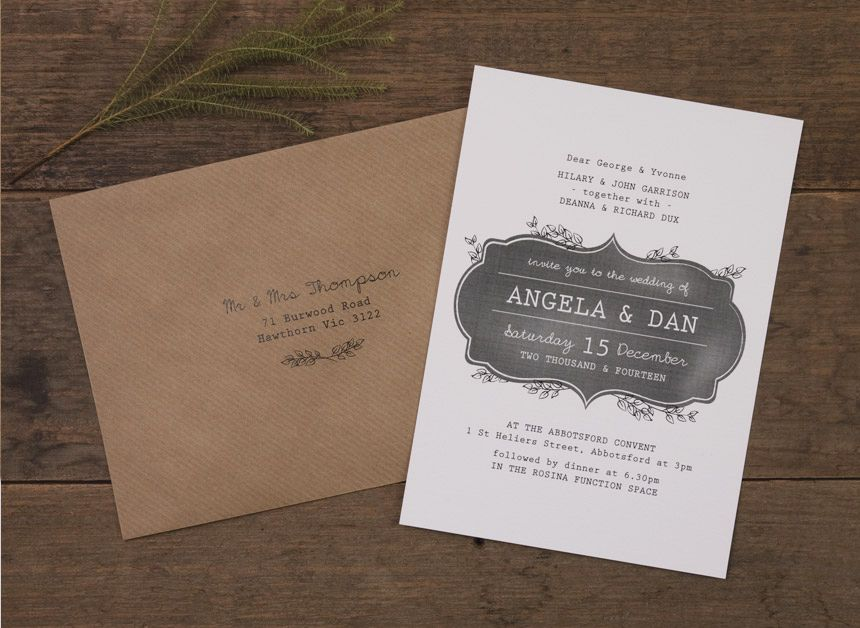 Blackboard Inspired Wedding Invitation Printed Onto White Linen Card With Envelope Printing