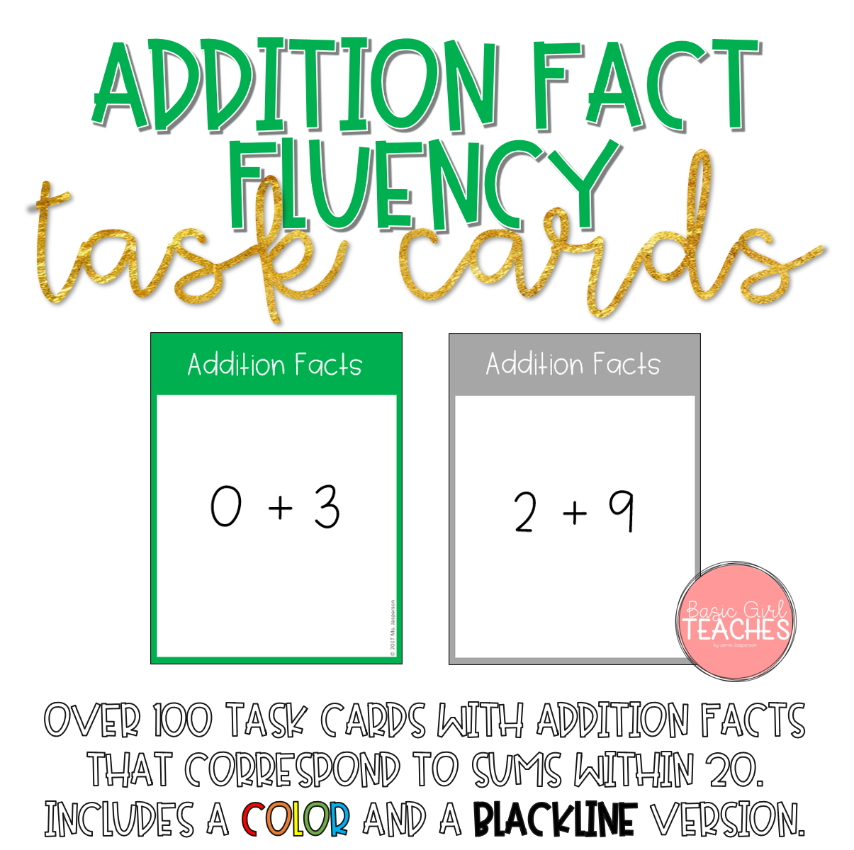 Addition Fact Fluency Task Cards | Addition facts, Math and Fluency ...