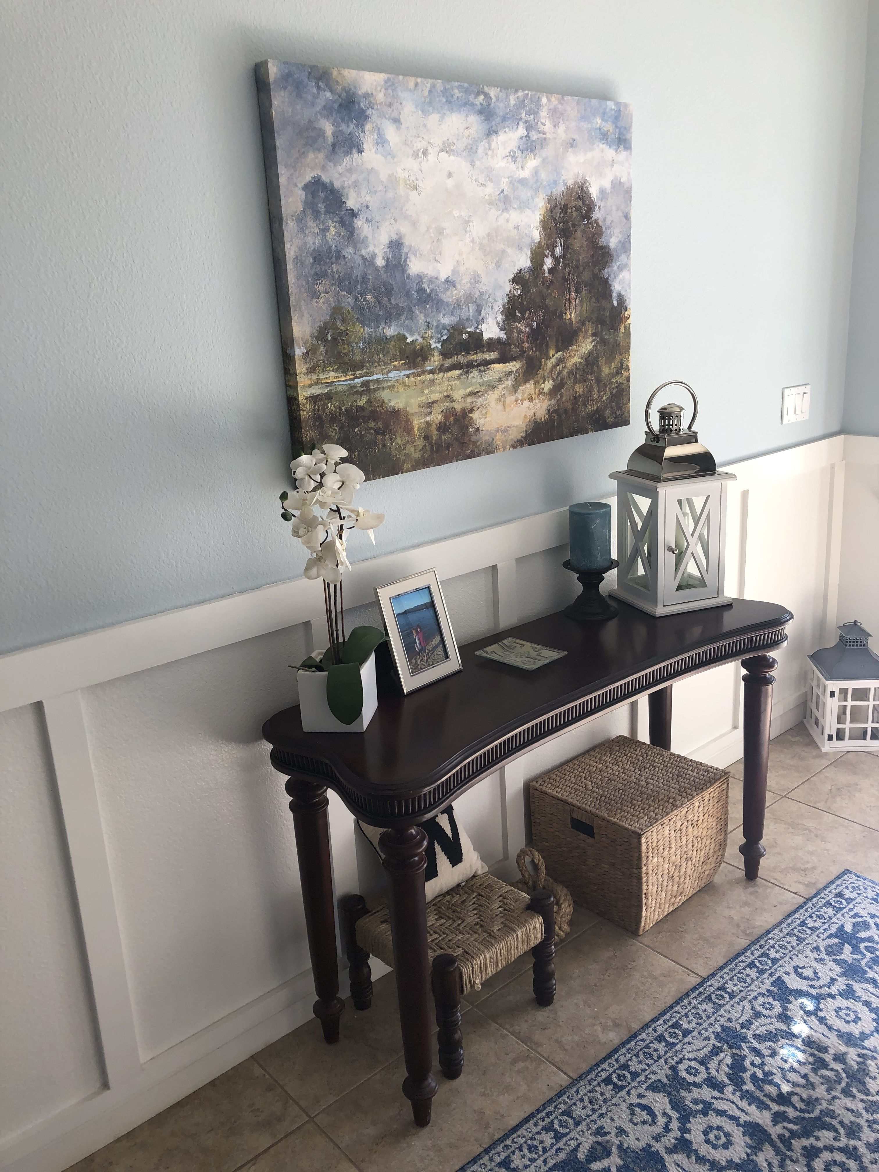 Blue accent wall in living room   New Home ideas   Living ...