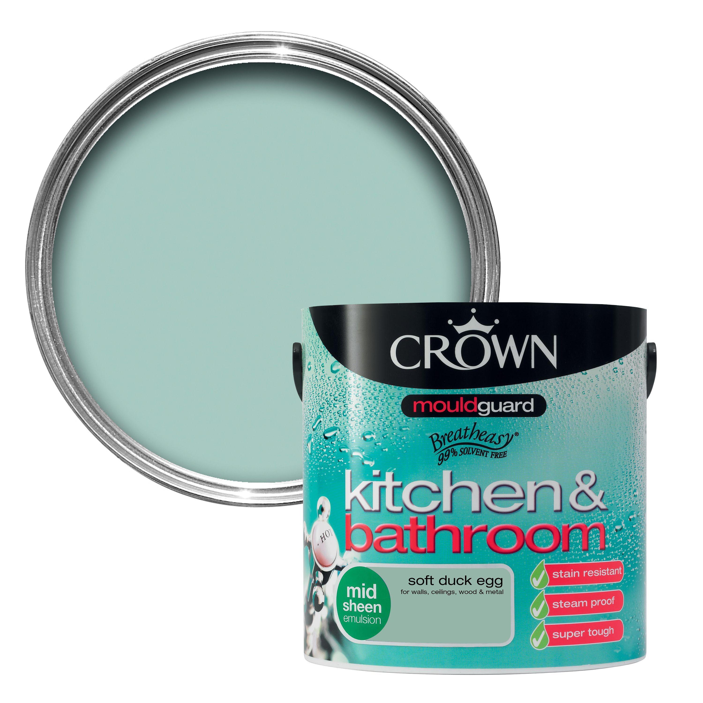 crown kitchen & bathroom soft duck egg mid sheen emulsion paint