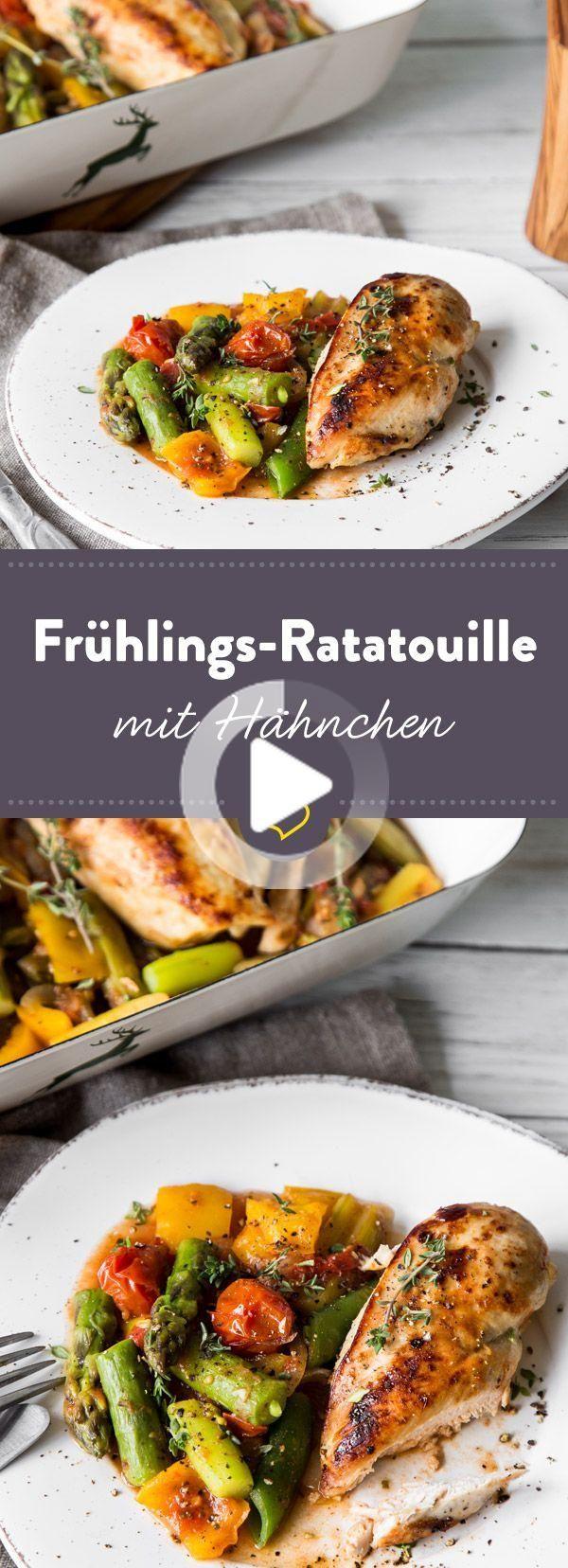 Frühlings-Ratatouille mit Spargel, Zuchererbse und Hähnchen