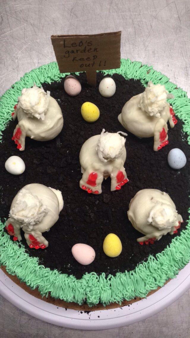 Carrot cake , chocolate cream cheese frosting, cake ball bunny cake.