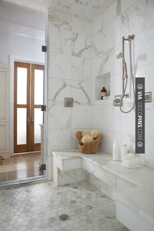 Walk In Shower With Calcutta Marble Walls Bench And Niche Decopins Com Home Decoration Pictures And Ho Master Bathroom Shower Shower Floor Marble Showers