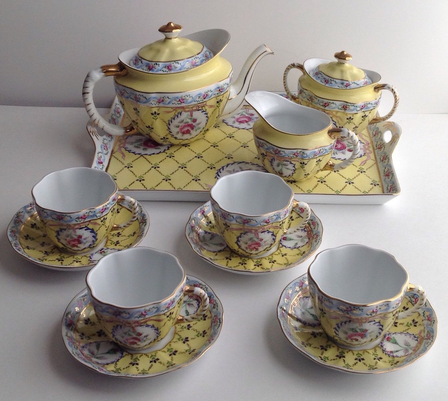 royal danube adeline tea set teapot 4 cups saucers cream sugar bowls tray teapot teas. Black Bedroom Furniture Sets. Home Design Ideas