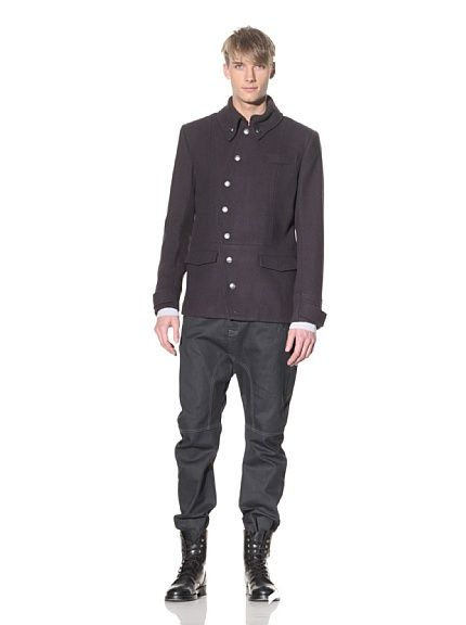 Asymmetrical Button-Up Jacket by I.Am.Clothing. I like the way the buttons are positioned; something different.
