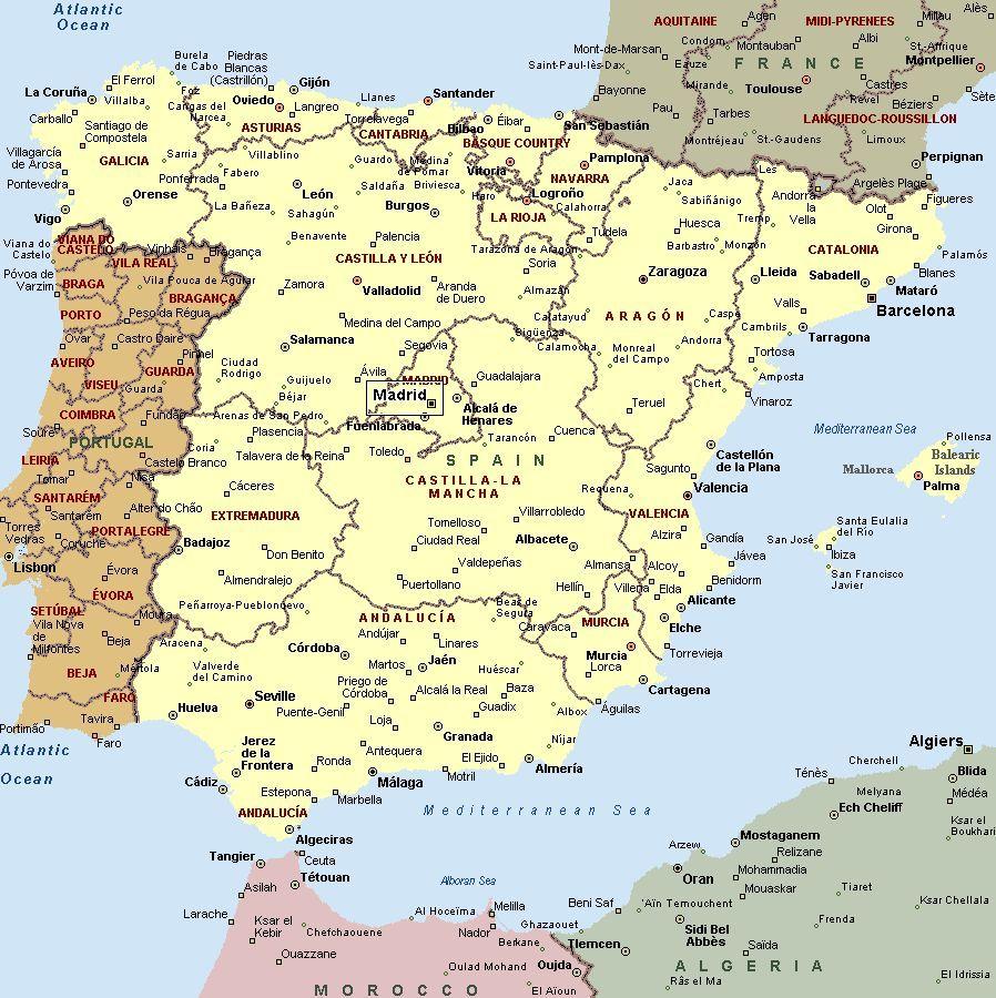 La Spagna Cartina.Mappa Spagna Cartina Della Spagna Spagna Viaggio In Portogallo Viaggi Spagna